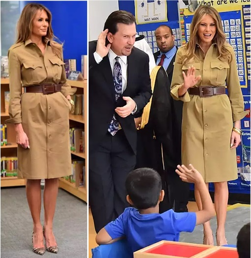 Fashion Diplomacy - Melania Trump First Foreign Trip - Saudi - Ralph Lauren Collection Safari Shirt-dress