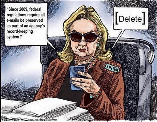 Hillary Clinton Email Scandal - Delete - Cartoon