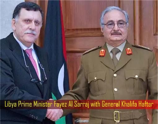 Libya Prime Minister Fayez Al Sarraj with General Khalifa Haftar