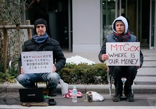 Mt. Gox Bitcoin Exchange Bankruptcy - Protesters