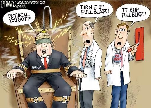 News Media Bashing Donald Trump - cartoon