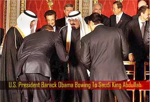 U.S. President Barack Obama Bowing To Saudi King Abdullah