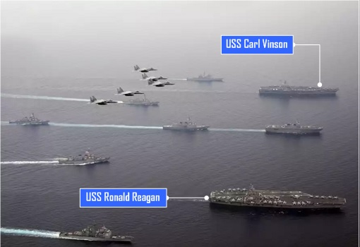 Aircraft Carrier - USS Carl Vinson and USS Ronald Reagan - Exercise