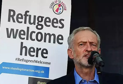 Britain UK Labour Party Jeremy Corbyn Welcomes Refugees