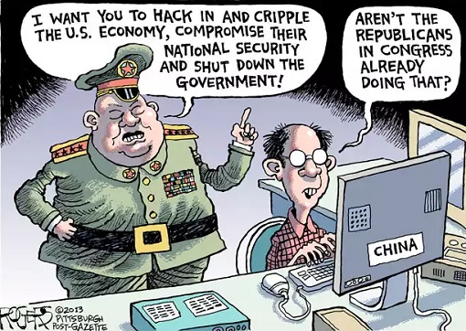 China - Cyber Security Law - Cyber Hackers - Cartoon
