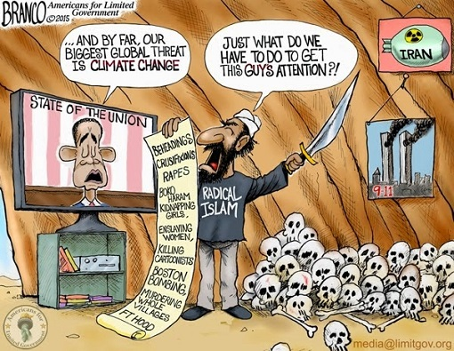 Climate Change Global Warming - Barack Obama Greatest Threat - ISIS Terrorism - Cartoon