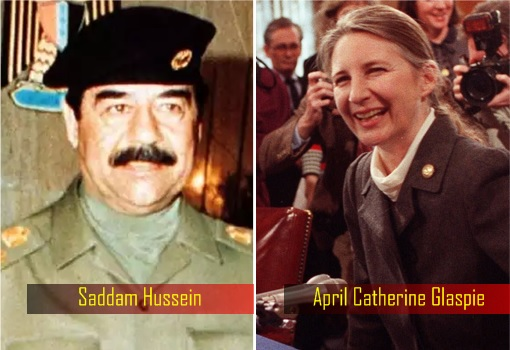 Iraq President Saddam Hussein and US Ambassador to Iraq April Catherine Glaspie