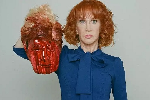 Kathy Griffin with Fake Beheaded Bloodied Head of Donald Trump