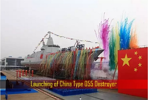 Launching of China Type 055 Destroyer