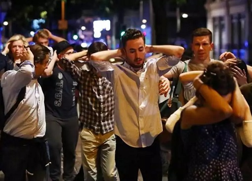 London Bridge and Borough Market Terror Attack - People with Hands on Head