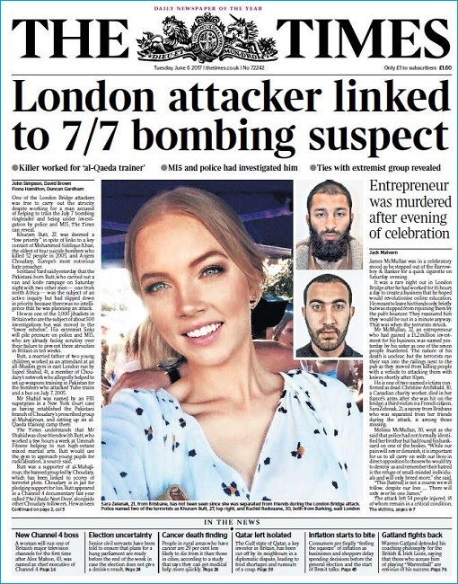 London Bridge and Borough Market Terror Attack - The Times - Linked to 7-7 Bombing