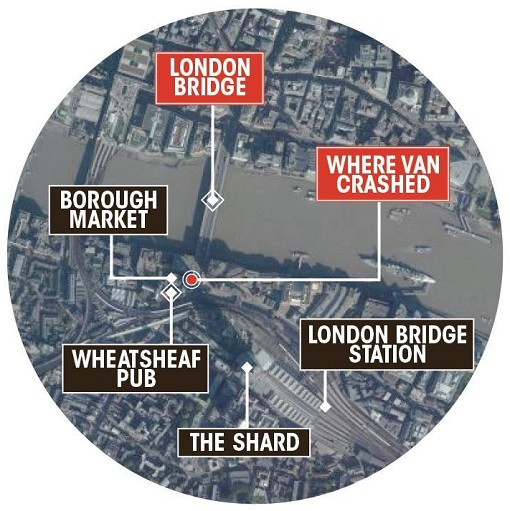 London Terror Attack - London Bridge and Borough Market - Map