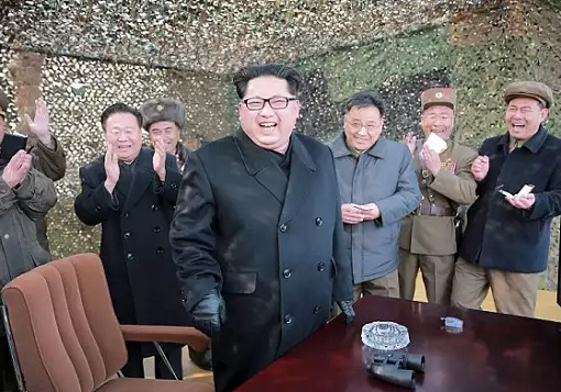 North Korea Kim Jong-un - Laughing After Successful Missile Test
