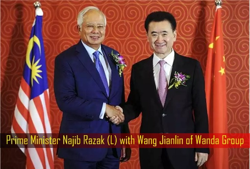 Prime Minister Najib Razak with Wang Jianlin of Wanda Group