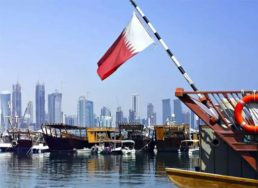 Qatar Flag on a Boat - City of Qatar Background