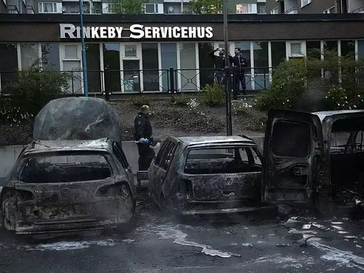 Rinkeby Violence - Car Burnt