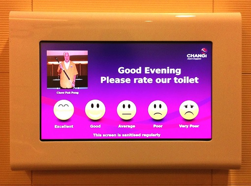 Singapore Changi Airport - Rate Toilet Bathroom Touchscreen