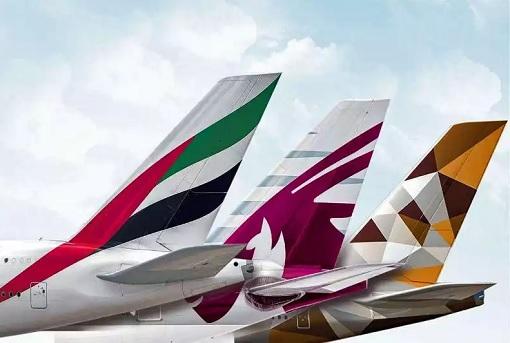 Emirates Airlines, Etihad Airways and Qatar Airways - Aircraft Tail