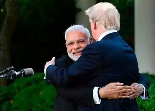 Indian Prime Minister Narendra Modi gave President Donald Trump a Big Bear Hug