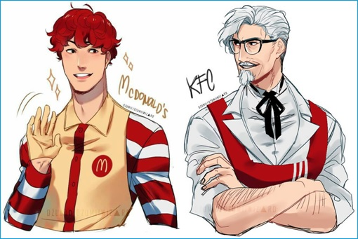 KFC Colonel Sanders and Ronald McDonald's - Manga - Graphic