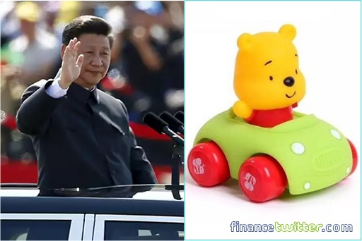 President Xi Jinping Standing In A Car Waving- Winnie the Pooh In A Toy Car