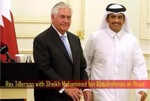 Rex Tillerson with Sheikh Mohammed bin Abdulrahman al-Thani