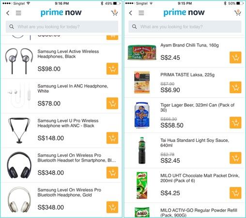Singapore Amazon Prime Now App - Sample Products