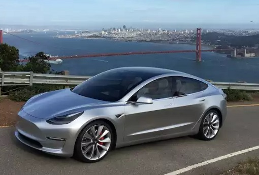 Tesla Model 3 - Silver Exterior - San Francisco Bridge Background