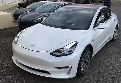 Tesla Model 3 - White Exterior Front View