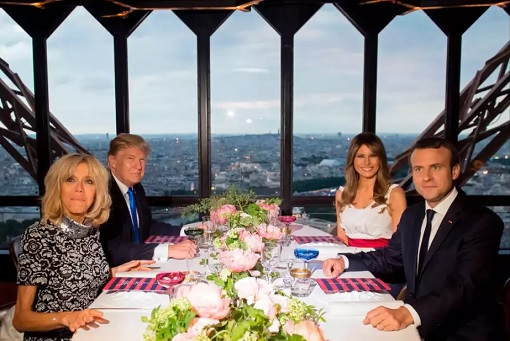 US President Donald Trump and French President Emmanuel Macron - Dinner at Eiffel Tower