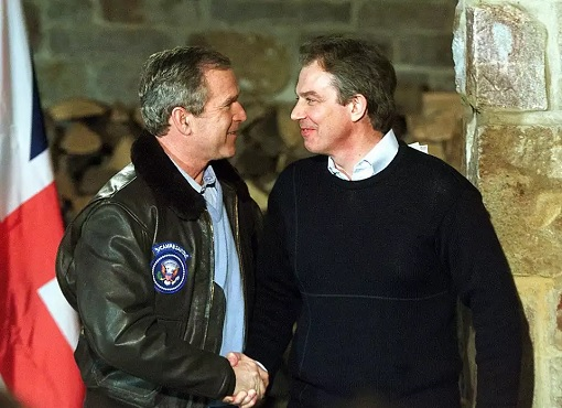 US President George W Bush and UK Prime Minister Tony Blair