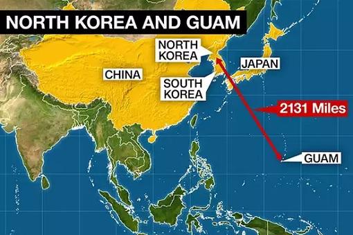 North Korea Missile Threat On Guam - Map