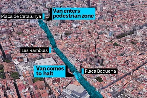Spain Barcelona Las Ramblas Under Terror Attack - Map