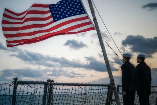 U.S. Navy Sailors and American Flag