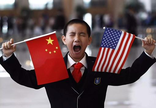 US-China Trade War - Kid Holding Flags