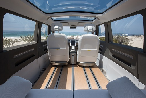 Volkswagen VW Electric Microbus 2022 - Interior Front View - From Rear Seats
