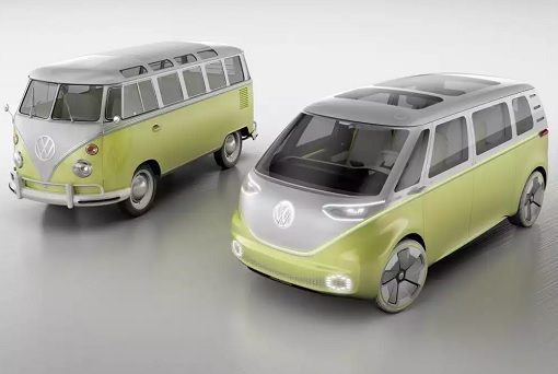 Volkswagen VW Electric Microbus 2022 - Old 1960s Bus and 2022 Bus