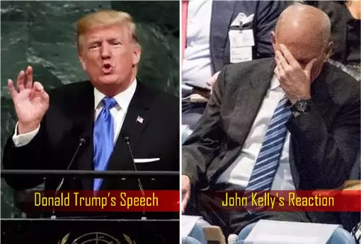 Destroy North Korea - Donald Trump's Speech and John Kelly's Reaction