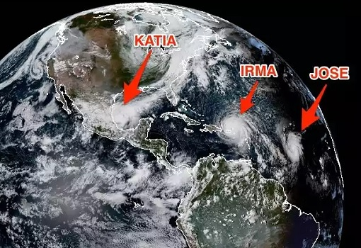 Earth Map - Hurricane Irma, Katia and Jose