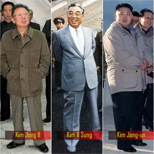 Kim Jong-un and father Kim Jong-il and grandfather Kim Il-sung