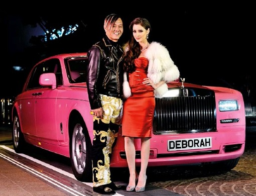 Macau Billionaire Stephen Hung with Mexican Wife Deborah Valdez - Pink Rolls Royce