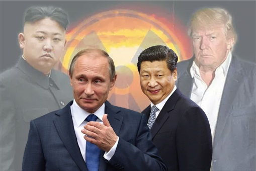 North Korea Kim Jong-un and US Donald Trump - Russia Vladimir Putin with China Xi Jinping