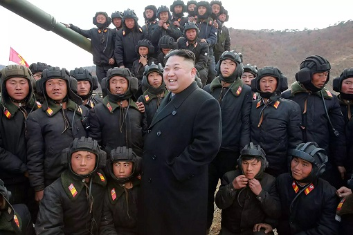 North Korean Kim Jong-un With Soldiers