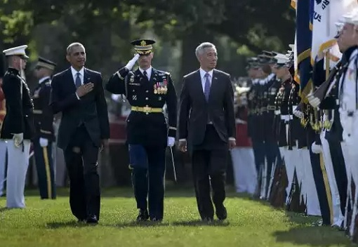 Singapore Lee Hsien Loong Visit to White House - Guard of Honour Inspection
