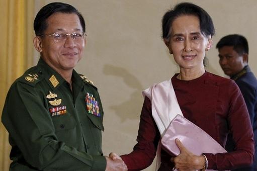 Aung San Suu Kyi with Myanmar Army Chief Aye Win