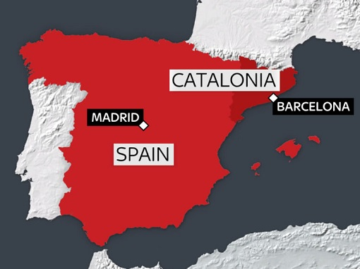 Catalonia Independence - Location in Spain Map