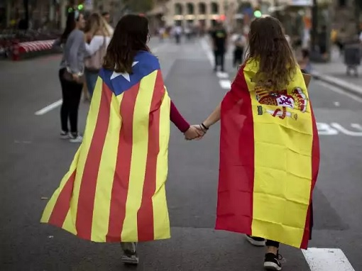 Catalonia Independence - Woman Wearing Catalonia Flag and Spain Flag