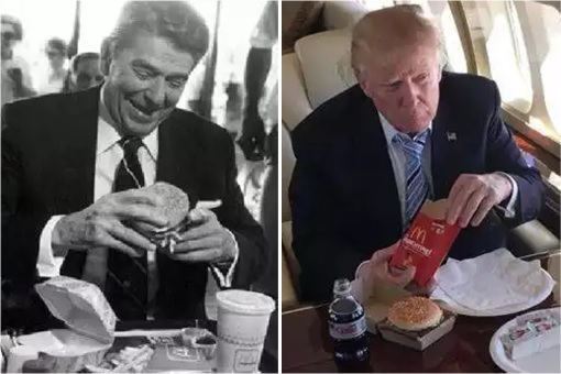 Fast Food - President Ronald Reagan and President Donald Trump Having McDonalds