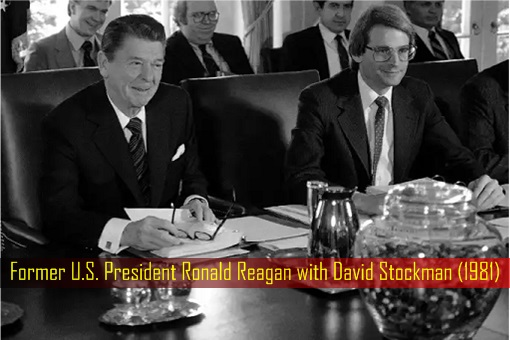 Former U.S. President Ronald Reagan with David Stockman - 1981 Cabinet Meeting