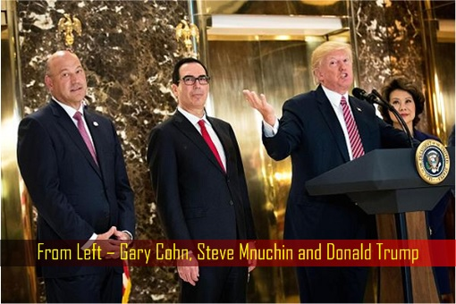 Gary Cohn, Steve Mnuchin and Donald Trump